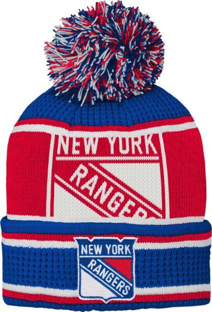 0631576f3cf NHL Youth New York Rangers Grinder Blue Pom Knit Beanie. noImageFound