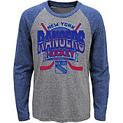 NHL Youth New York Rangers Home Rink Royal Raglan T-Shirt