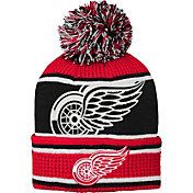 NHL Youth Detroit Red Wings Grinder Red Pom Knit Beanie