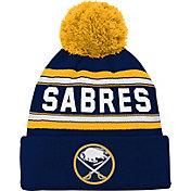 NHL Youth Buffalo Sabres Wordmark Navy Pom Knit Beanie
