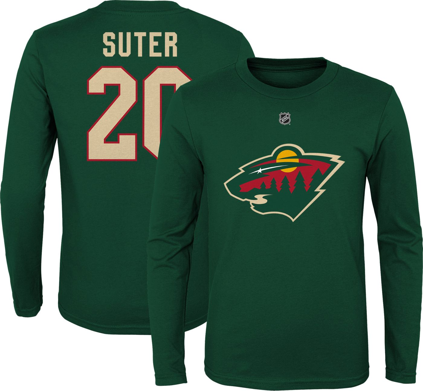 NHL Youth Minnesota Wild Ryan Suter #20 Green Long Sleeve Player Shirt