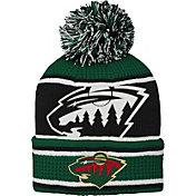NHL Youth Minnesota Wild Grinder Green Pom Knit Beanie