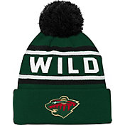 NHL Youth Minnesota Wild Wordmark Green Pom Knit Beanie