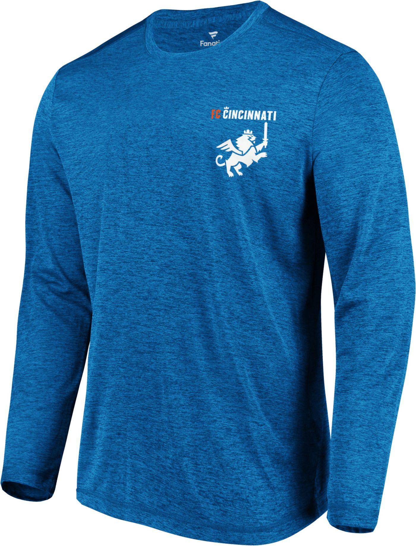 MLS Men's FC Cincinnati Wordmark Crest Blue Heathered Long Sleeve Shirt