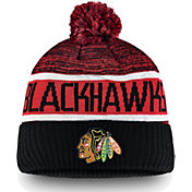 NHL Men's Chicago Blackhawks Authentic Pro Rinkside Goalie Black Cuffed Knit Beanie