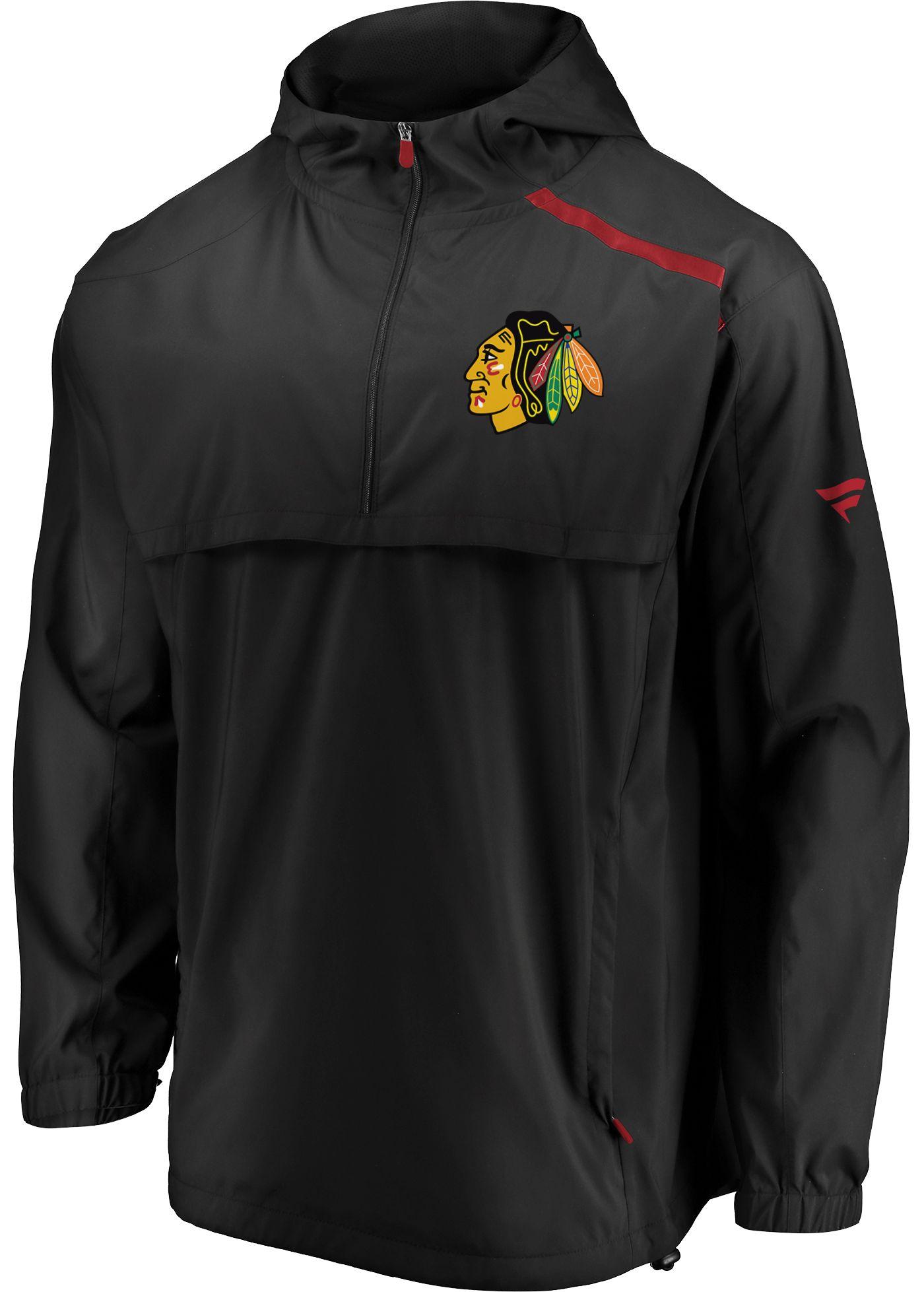 NHL Men's Chicago Blackhawks Authentic Pro Black Anorak Jacket