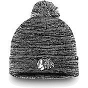 NHL Men's Chicago Blackhawks Black and White Pom Knit Beanie