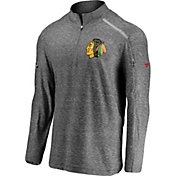 NHL Men's Chicago Blackhawks Authentic Pro Clutch Heather Grey Quarter-Zip Pullover