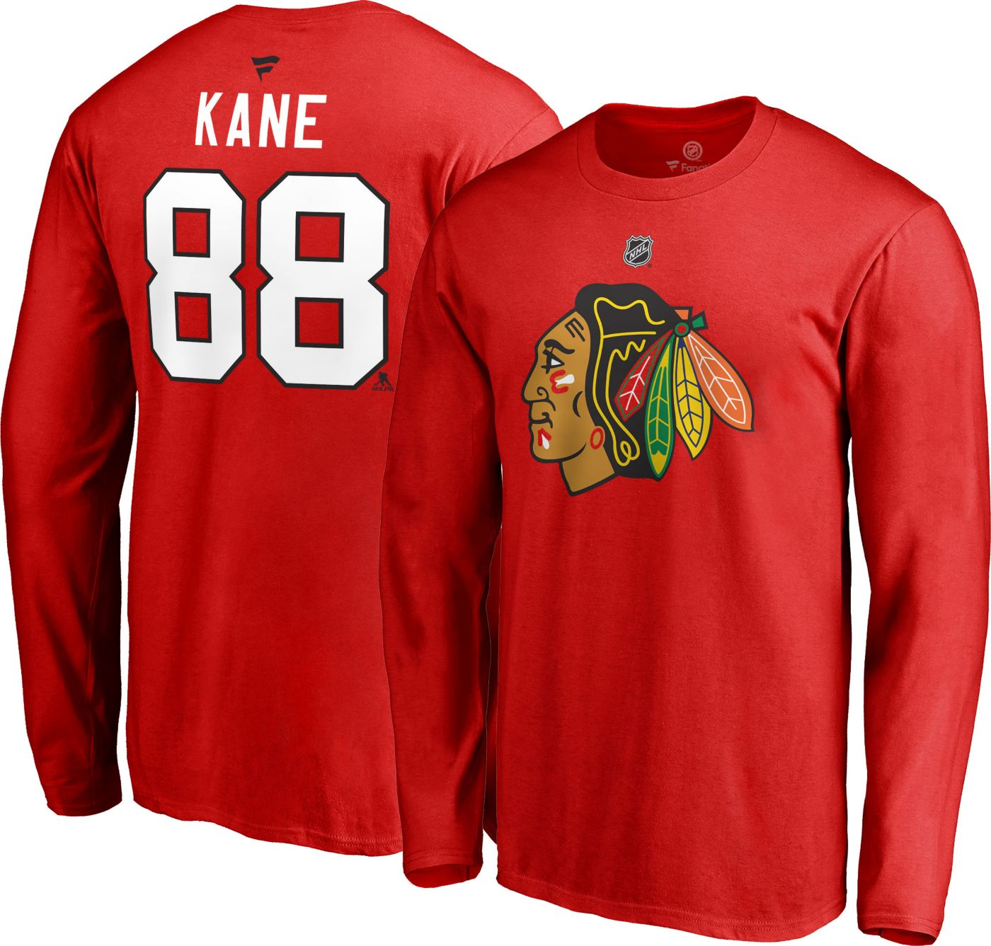 NHL Men's Chicago Blackhawks Patrick Kane #88 Red Long Sleeve Player Shirt
