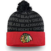 NHL Men's Chicago Blackhawks Authentic Pro Rinkside Red Cuffed Pom Knit Beanie