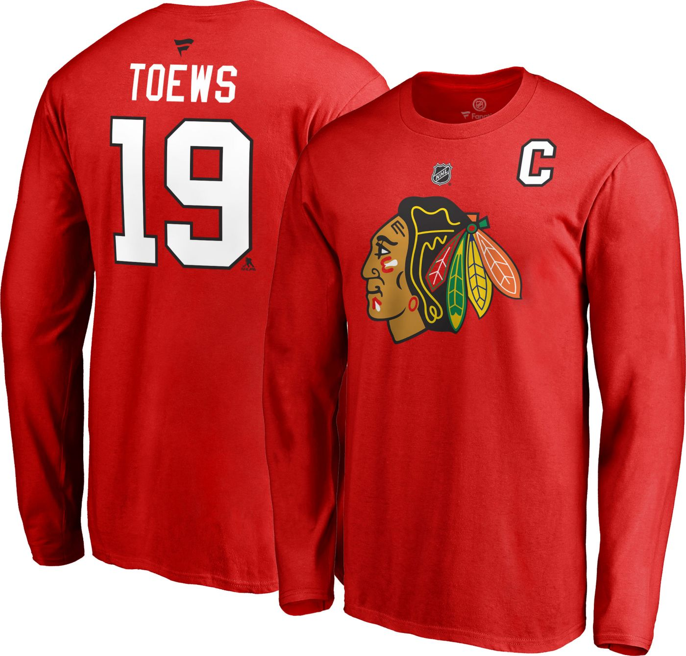 NHL Men's Chicago Blackhawks Jonathan Toews #19 Red Long Sleeve Player Shirt