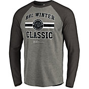 NHL Men's 2019 Winter Classic Chicago Blackhawks Vintage Grey Long Sleeve Shirt