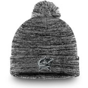 NHL Men's Columbus Blue Jackets Black and White Pom Knit Beanie