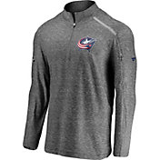 NHL Men's Columbus Blue Jackets Authentic Pro Clutch Heather Grey Quarter-Zip Pullover
