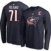 NHL Men's Columbus Blue Jackets Nick Foligno #71 Navy Long Sleeve Player Shirt