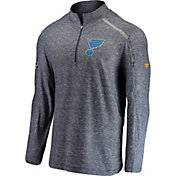 NHL Men's St. Louis Blues Authentic Pro Clutch Navy Heathered Quarter-Zip Pullover