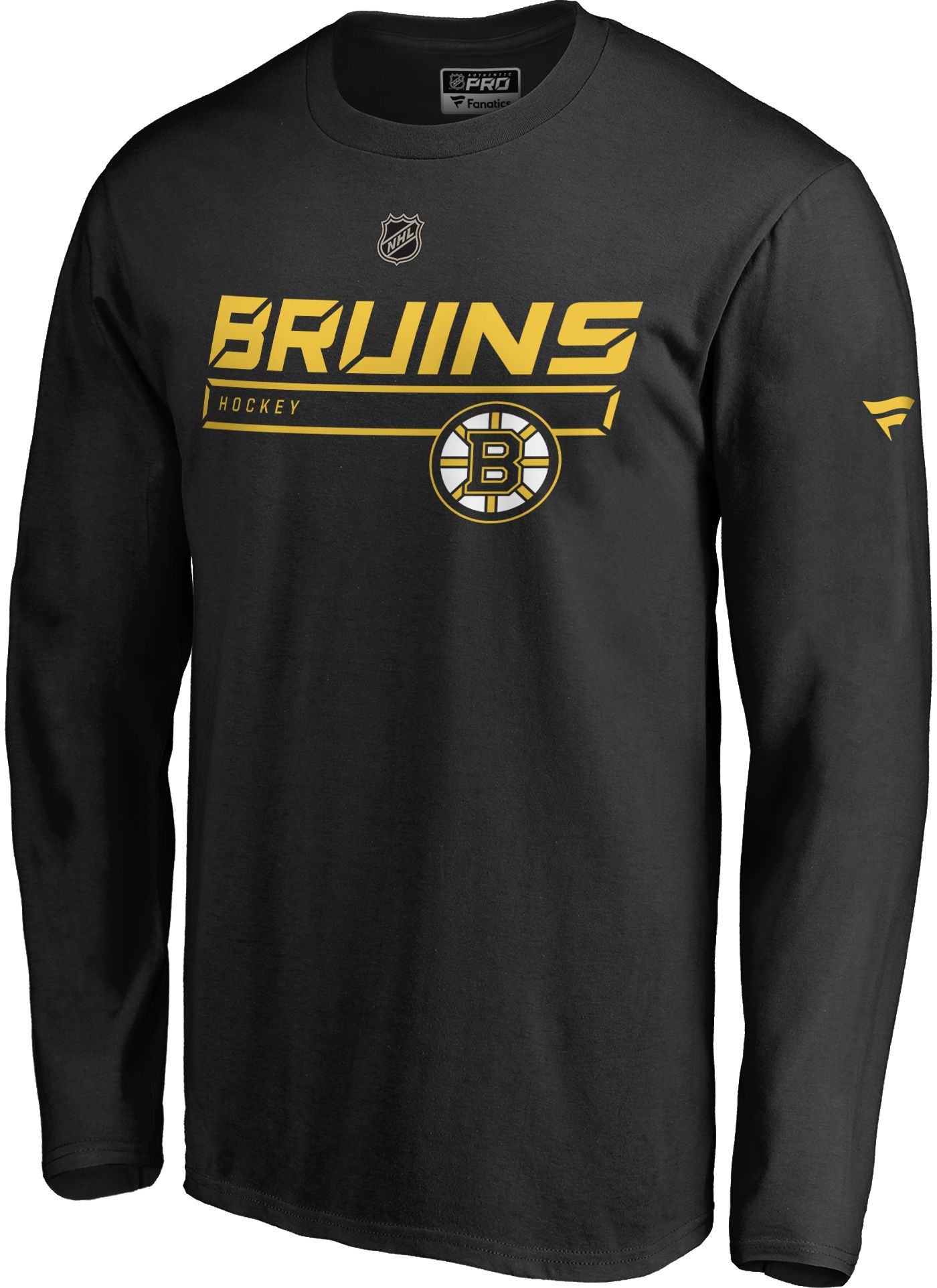 NHL Men's Boston Bruins Authentic Pro Prime Black Long Sleeve Shirt