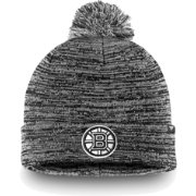 NHL Men's Boston Bruins Black and White Pom Knit Beanie