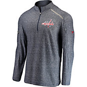 NHL Men's Washington Capitals Authentic Pro Clutch Navy Heathered Quarter-Zip Pullover