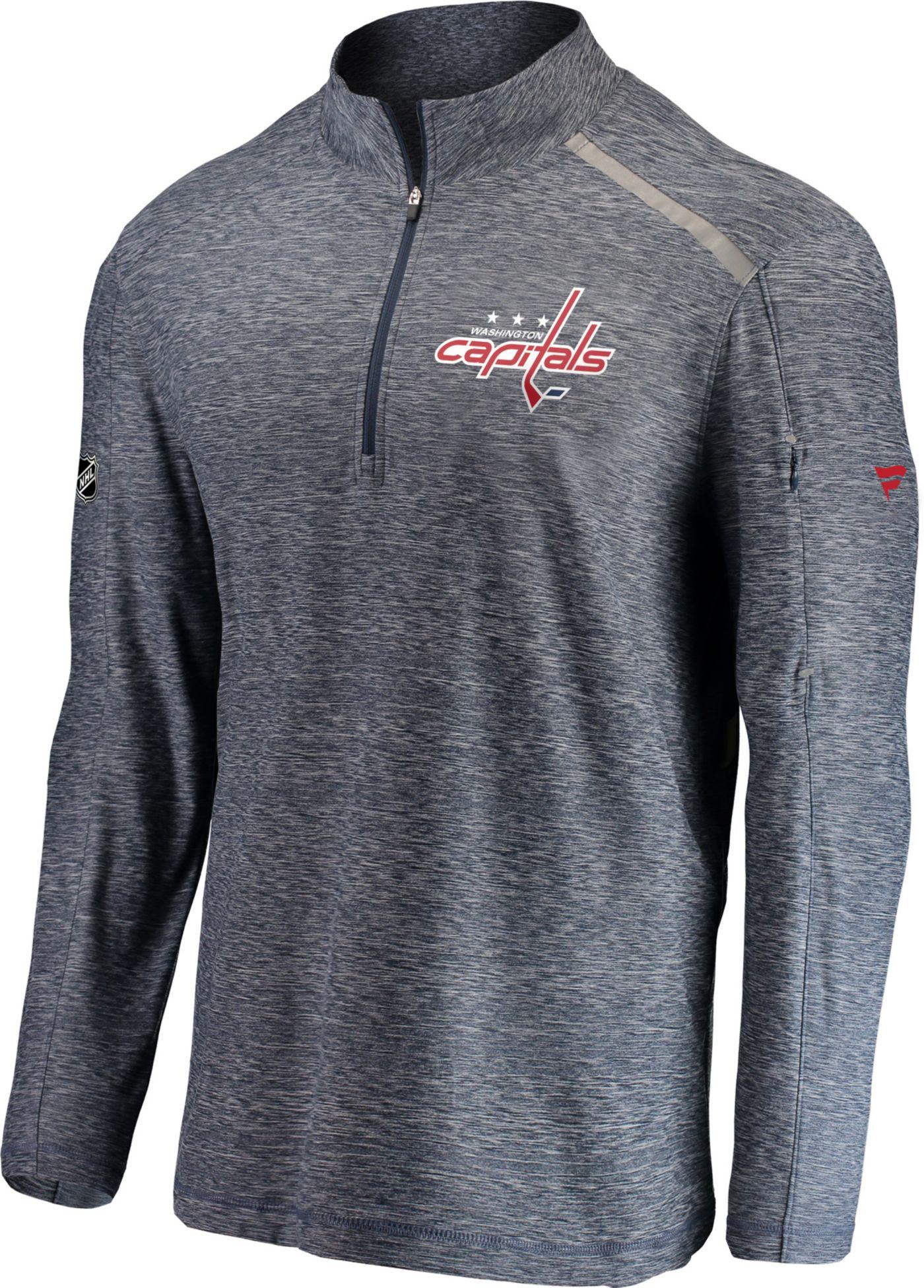 NHL Men's Washington Capitals Authentic Pro Clutch Navy Heathered Quarter-Zip Pullover