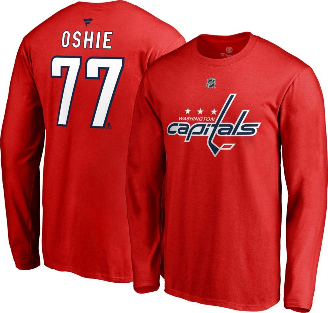 promo code 4d443 872bb NHL Men's Washington Capitals T.J. Oshie #77 Red Long Sleeve Player Shirt