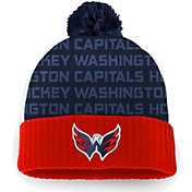 NHL Men's Washington Capitals Authentic Pro Rinkside Red Cuffed Pom Knit Beanie