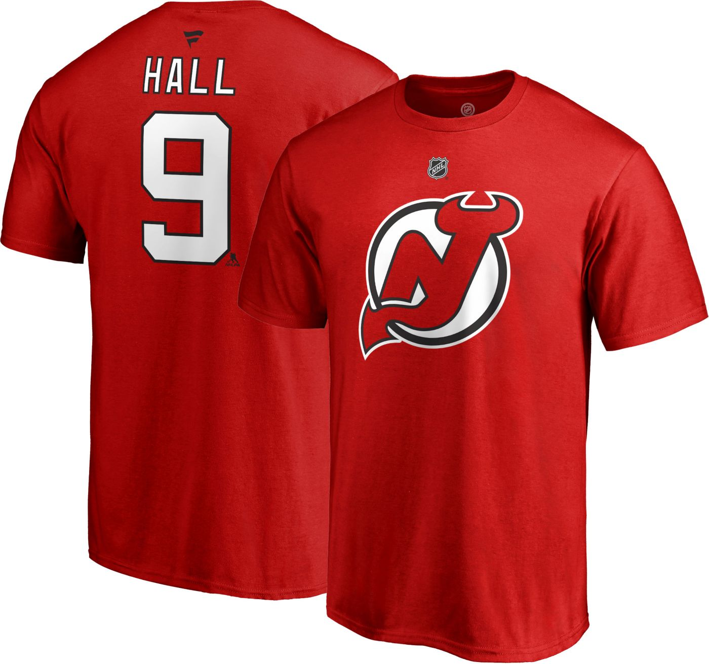 NHL Men's New Jersey Devils Taylor Hall #9 Red Player T-Shirt