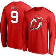 NHL Men's New Jersey Devils Taylor Hall #9 Red Long Sleeve Player Shirt