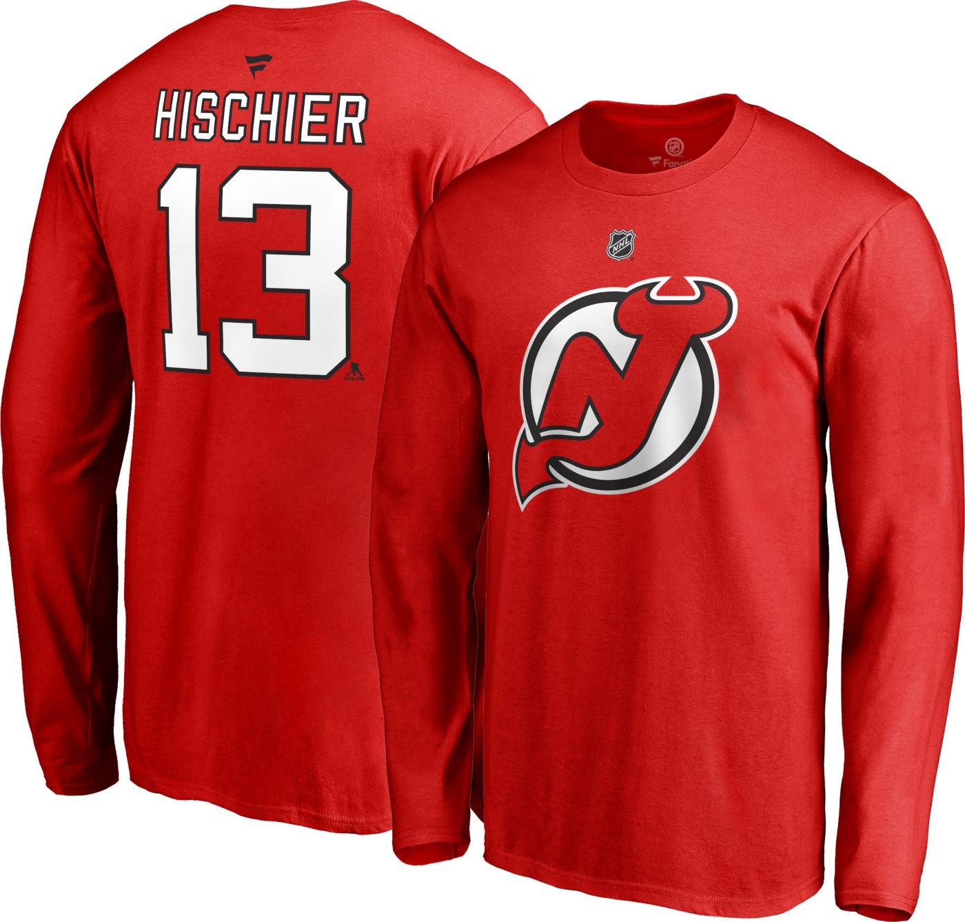 NHL Men's New Jersey Devils Nico Hischier #13 Red Long Sleeve Player Shirt
