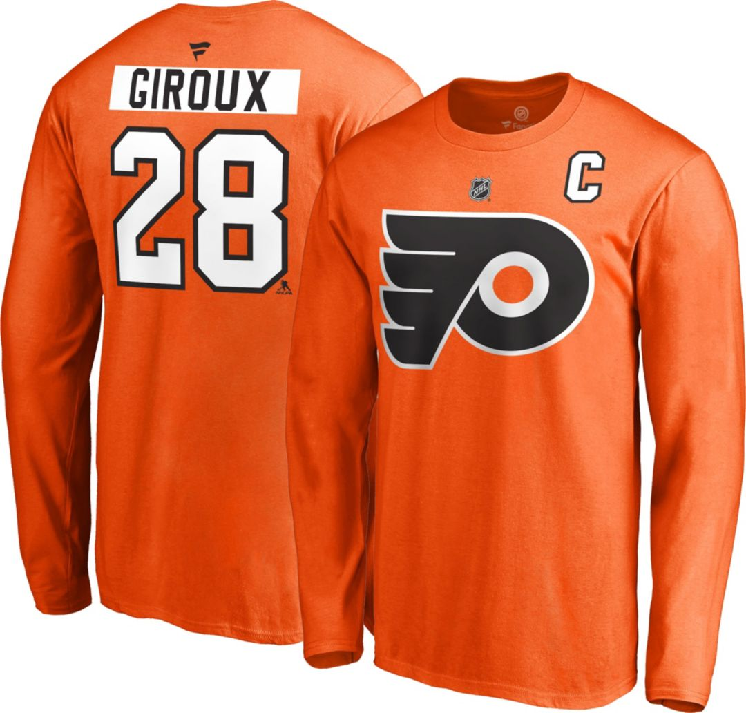 hot sales a21b9 44c05 NHL Men's Philadelphia Flyers Claude Giroux #28 Orange Long Sleeve Player  Shirt