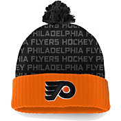 NHL Men's Philadelphia Flyers Authentic Pro Rinkside Orange Cuffed Pom Knit Beanie
