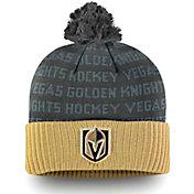 NHL Men's Vegas Golden Knights Authentic Pro Rinkside Gold Cuffed Pom Knit Beanie