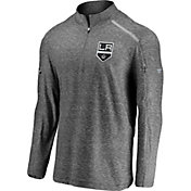 NHL Men's Los Angeles Kings Authentic Pro Clutch Heather Grey Quarter-Zip Pullover