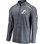 NHL Men's Tampa Bay Lightning Authentic Pro Clutch Navy Heathered Quarter-Zip Pullover