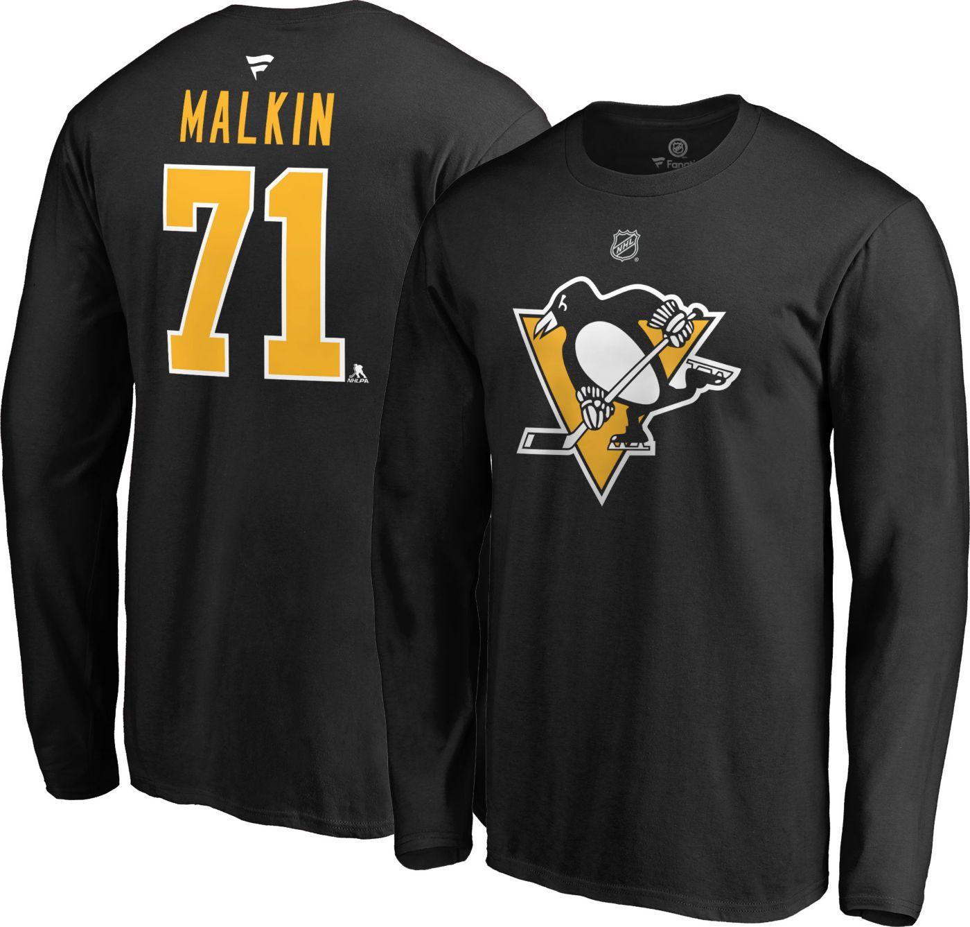 NHL Men's Pittsburgh Penguins Evgeni Malkin #71 Black Long Sleeve Player Shirt