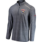 NHL Men's Florida Panthers Authentic Pro Clutch Navy Heathered Quarter-Zip Pullover
