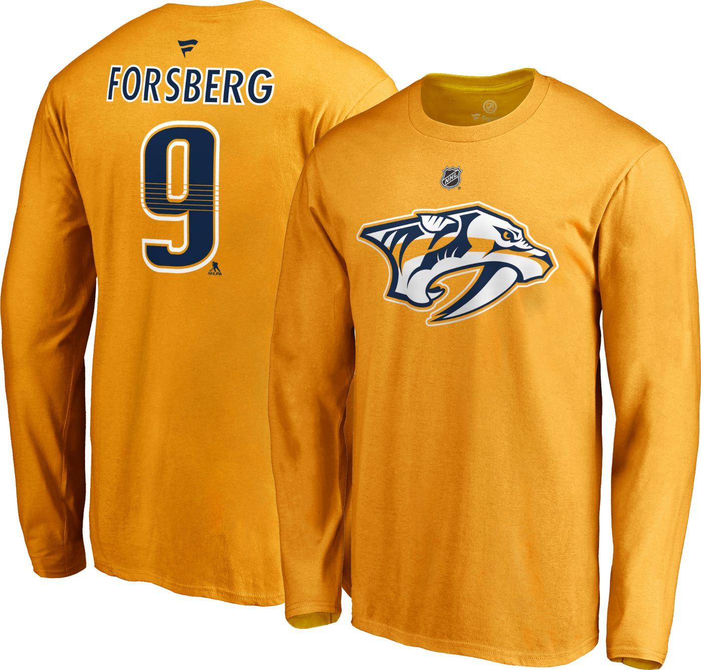 NHL Men's Nashville Predators Filip Forsberg #9 Gold Long Sleeve Player Shirt