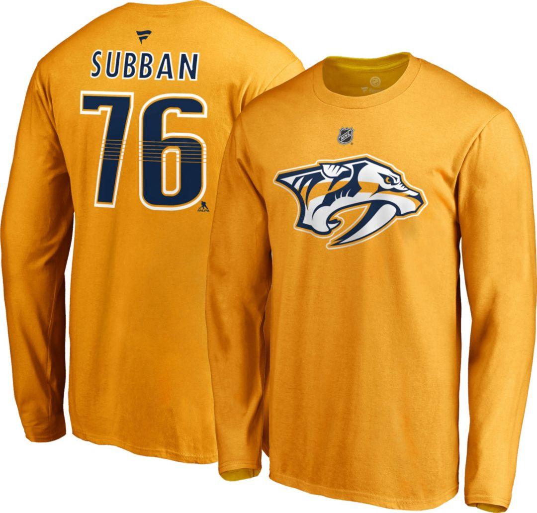 new style cf11f 75c3c NHL Men's Nashville Predators P.K. Subban #76 Gold Long Sleeve Player Shirt