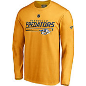 NHL Men's Nashville Predators Authentic Pro Prime Yellow Long Sleeve Shirt