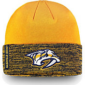 NHL Men's Nashville Predators Authentic Pro Rinkside Gold Cuffed Knit Beanie
