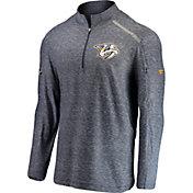 NHL Men's Nashville Predators Authentic Pro Clutch Navy Heathered Quarter-Zip Pullover