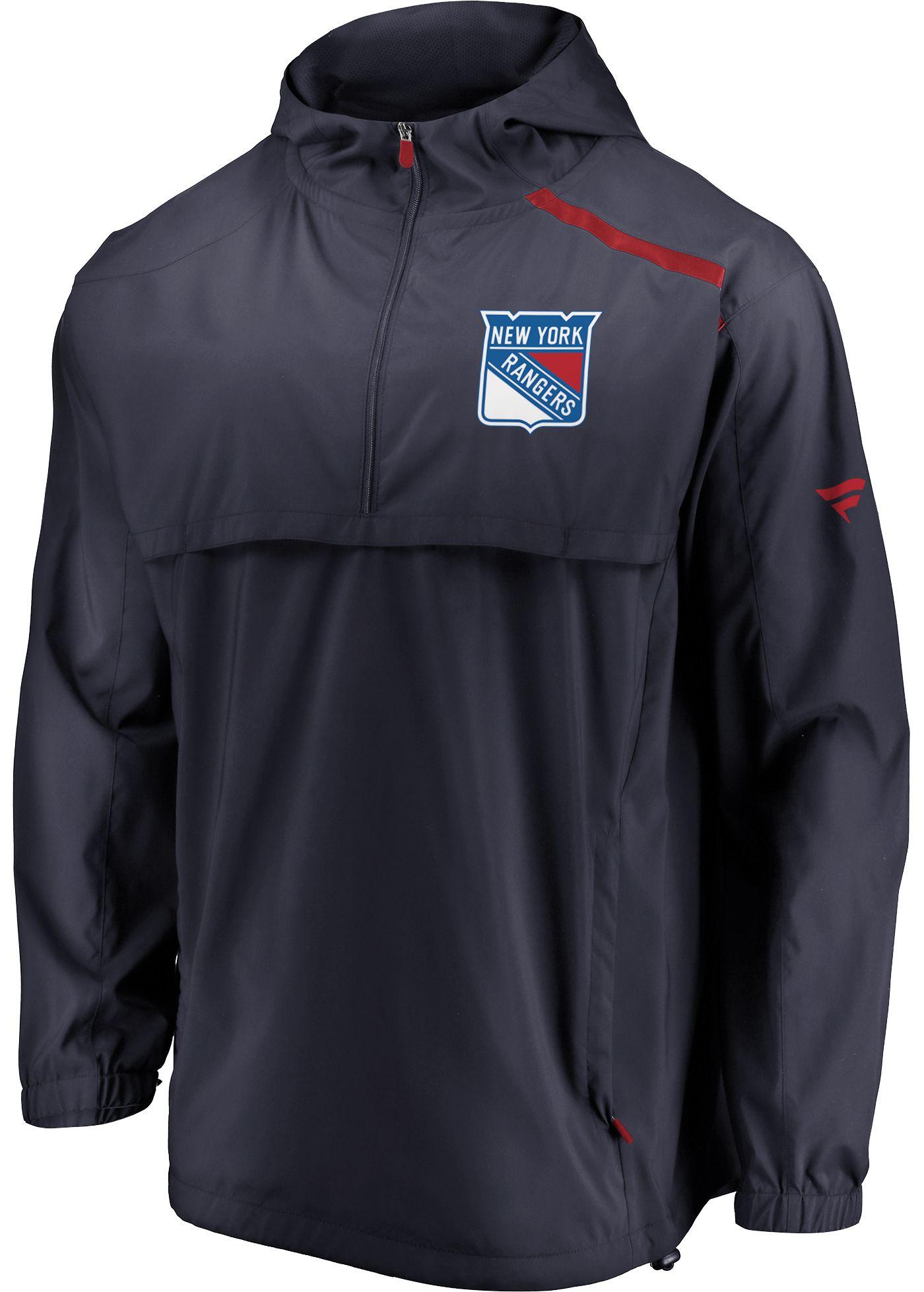 NHL Men's New York Rangers Authentic Pro Navy Anorak Jacket