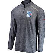 NHL Men's New York Rangers Authentic Pro Clutch Navy Heathered Quarter-Zip Pullover