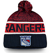 NHL Men's New York Rangers Authentic Pro Rinkside Goalie Navy Cuffed Knit Beanie