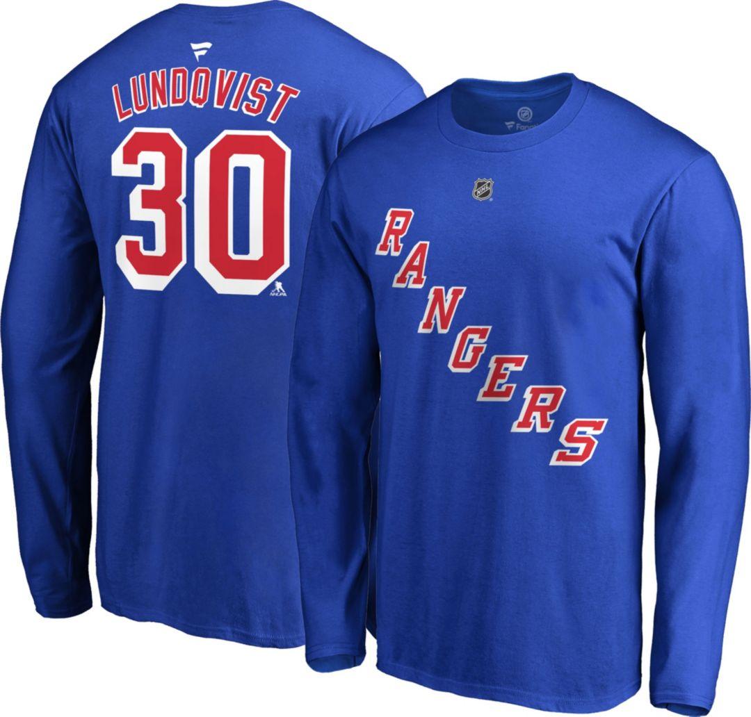 new style 9b0c5 695d8 NHL Men's New York Rangers Henrik Lundqvist #30 Royal Long Sleeve Player  Shirt