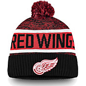 NHL Men's Detroit Red Wings Authentic Pro Rinkside Goalie Black Cuffed Knit Beanie