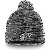 NHL Men's Detroit Red Wings Black and White Pom Knit Beanie