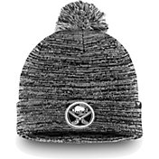 NHL Men's Buffalo Sabres Black and White Pom Knit Beanie