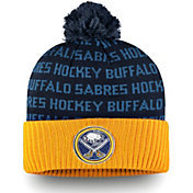 NHL Men's Buffalo Sabres Authentic Pro Rinkside Yellow Cuffed Pom Knit Beanie