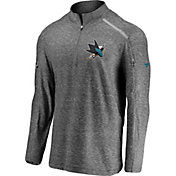 NHL Men's San Jose Sharks Authentic Pro Clutch Grey Quarter-Zip Pullover